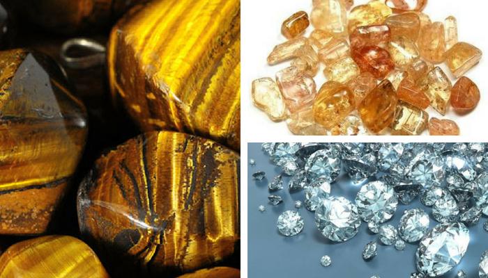 occhio di tigre, diamanti, topazio imperiale